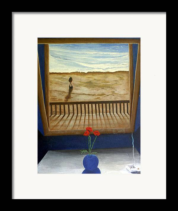 Figurative Framed Print featuring the painting Lonely Beach by Georgette Backs