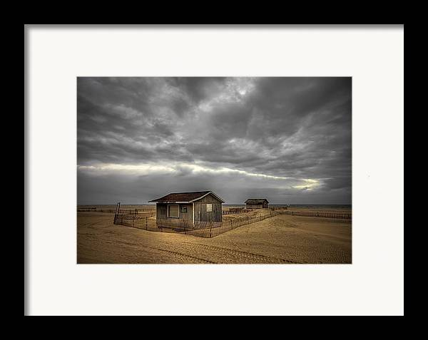 Beach Framed Print featuring the photograph Lonely Beach Shacks by Evelina Kremsdorf