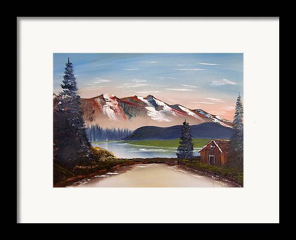 Landscape Framed Print featuring the painting Lonely Cabin In The Mountains by Sheldon Morgan