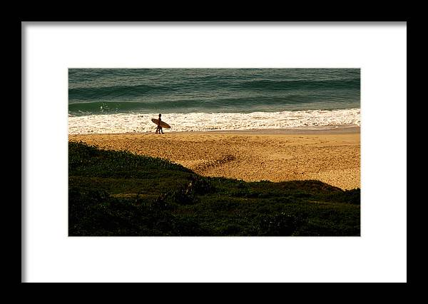 Surfer Framed Print featuring the photograph Lonely Surfer by Andre Panatto