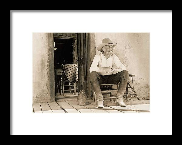 0064d8c9ddcd1 Lonesome Dove Gus On Porch Framed Print by Peter Nowell