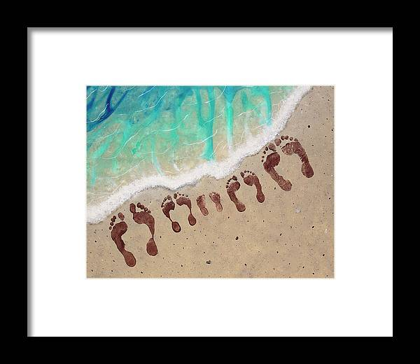 Body Prints Painting Framed Print featuring the painting Long Family Beach Feet by April Kasper