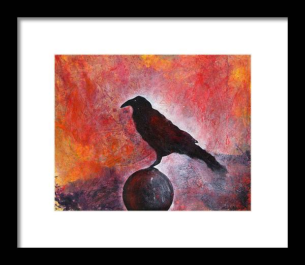 Raven Framed Print featuring the painting Long I Stood There by Sandy Applegate