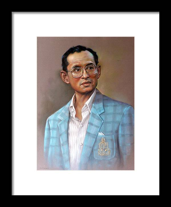 Pastel.portrait Framed Print featuring the painting Long Live The King by Chonkhet Phanwichien