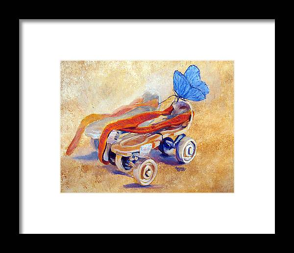 Rollerskates Framed Print featuring the painting Long Long Ago by Jimmie Trotter
