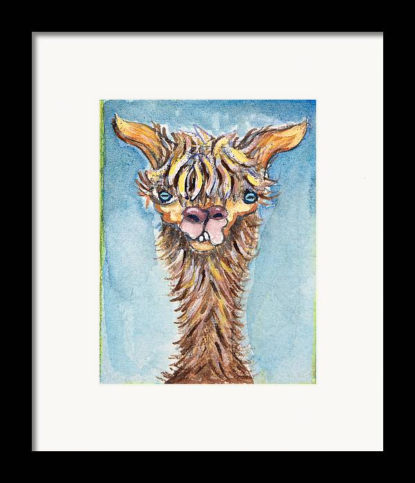 Animals Framed Print featuring the painting Long Neck Alpaca by Michelle Spiziri