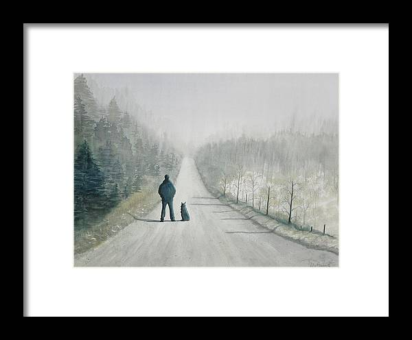 Winter Framed Print featuring the painting Long Road Home by Ally Benbrook