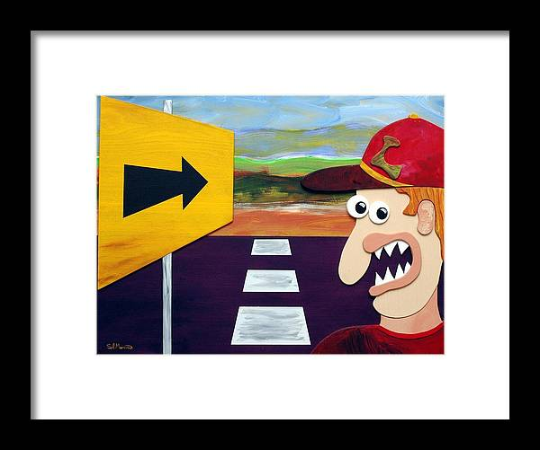 Funist Sculpture Framed Print featuring the sculpture Long Road Home by Sal Marino