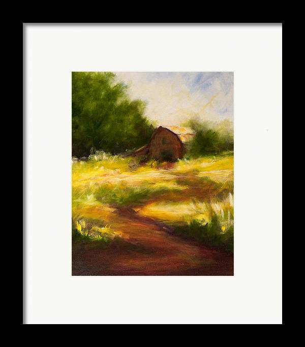 Landscape Framed Print featuring the painting Long Road Home by Shannon Grissom