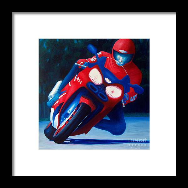 Motorcycle Framed Print featuring the painting Long Shadows - Kawasaki Zx6 by Brian Commerford