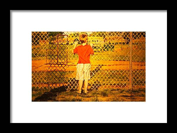 Children Framed Print featuring the painting Long Shadows by Thomas Akers