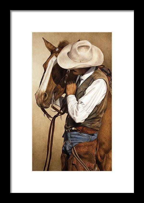 Western Framed Print featuring the painting Long Time Partners by Pat Erickson