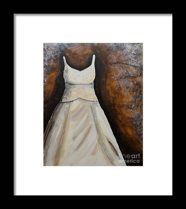 Long Dress Framed Print featuring the painting Long White Gown by Patricia Panopoulos