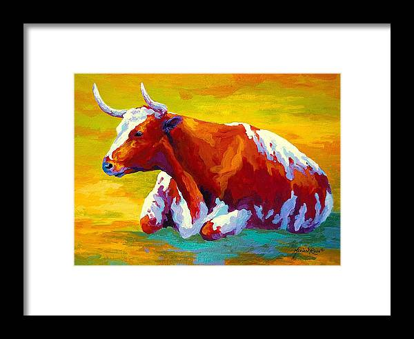 Western Framed Print featuring the painting Longhorn Cow by Marion Rose