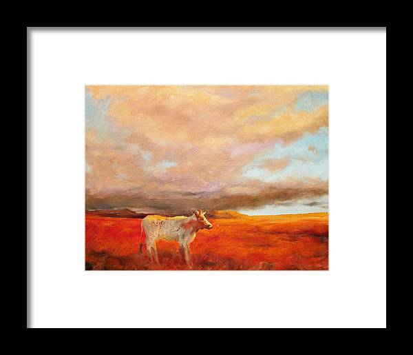 Longhorn Framed Print featuring the painting Longhorn by Margaret Aycock