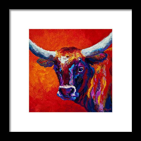 Longhorn Framed Print featuring the painting Longhorn Steer by Marion Rose
