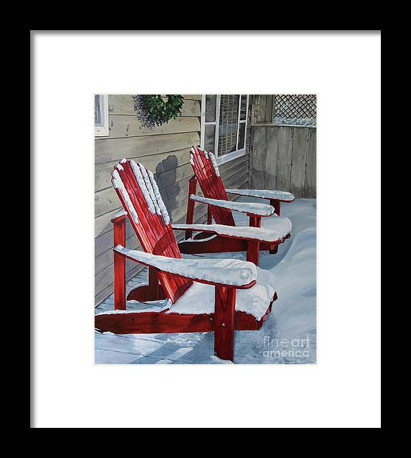 Snow Scene Framed Print featuring the painting Longing For Spring by Helen Shideler