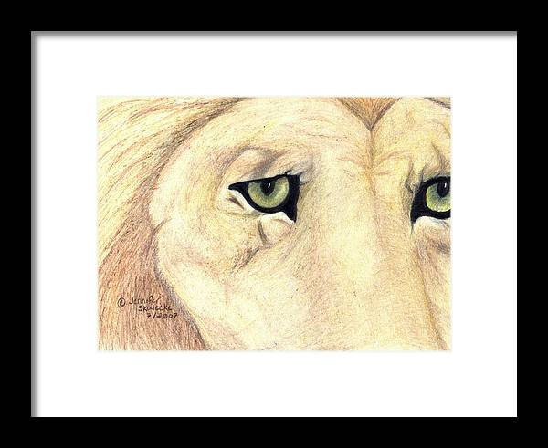 Lion Framed Print featuring the drawing Longing by Jennifer Skalecke