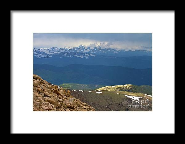 Alpine Framed Print featuring the photograph Longs Peak From Mount Evans Colorado by Crystal Garner