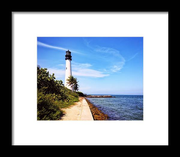 Lighthouse. Look Out Framed Print featuring the photograph Look Out by Camille Lopez