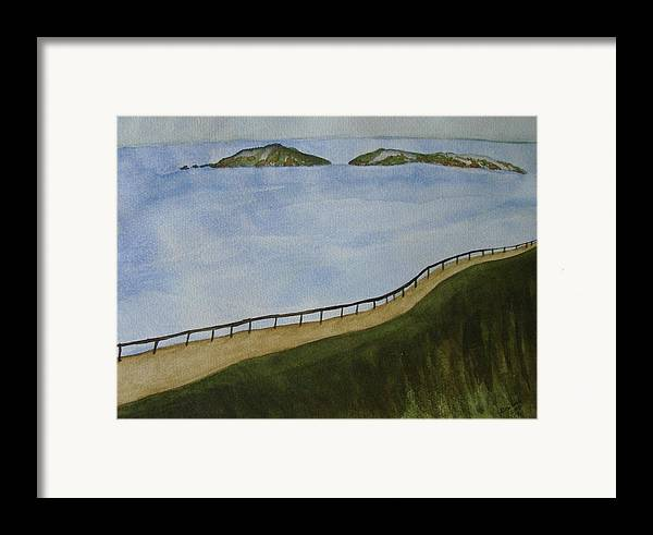 Landscape Framed Print featuring the painting Look To The Islands by Liz Vernand