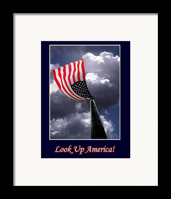 Flag Framed Print featuring the photograph Look Up America by Richard Gordon
