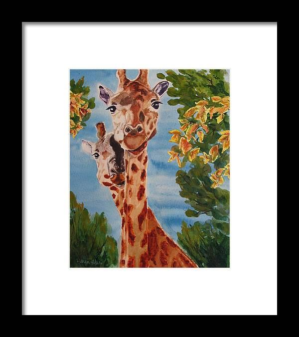 Giraffes Framed Print featuring the painting Lookin Back by Karen Ilari