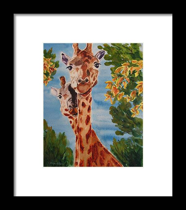 Giraffes Framed Print featuring the painting Lookin Back by Karen Ilari