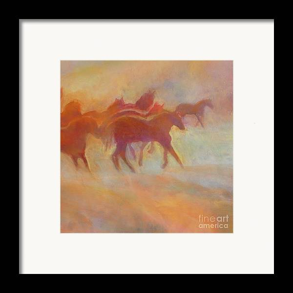 Horse Framed Print featuring the painting Lookin To Race I by Kip Decker