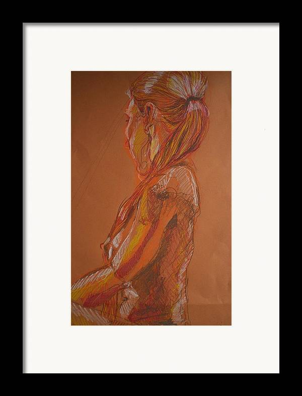 Setaed Female Figure Framed Print featuring the painting Looking Away by Aleksandra Buha