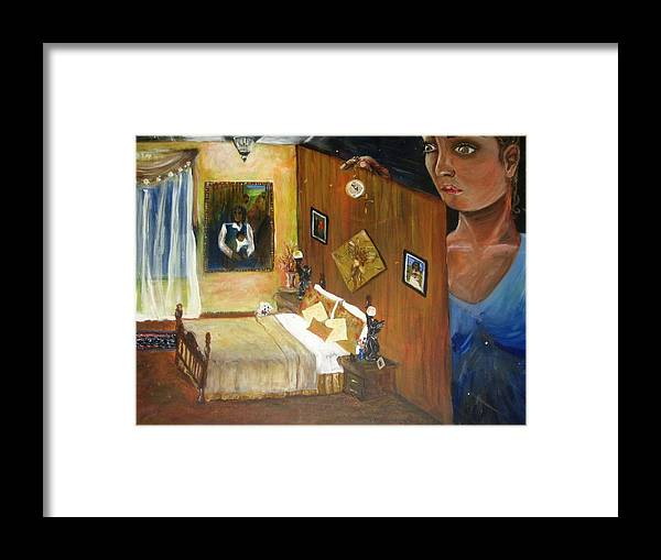 Oil Framed Print featuring the painting Looking Back by Jessica De la Torre