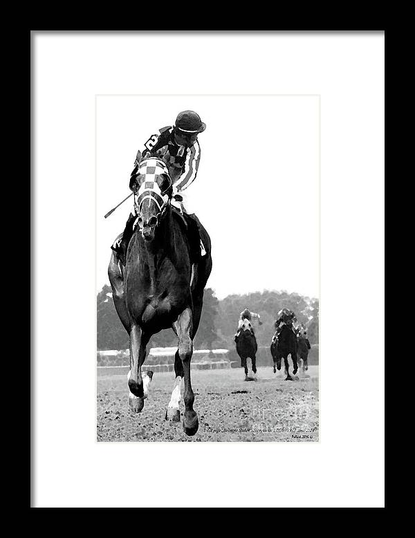 Looking Back Framed Print featuring the mixed media Looking back, 1973 Secretariat, stretch run, Belmont Stakes by Thomas Pollart