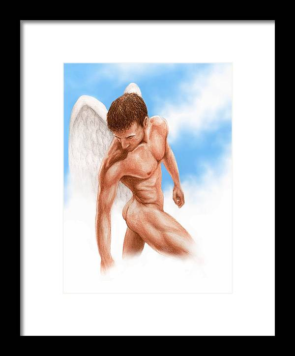 Male Angel Bruce Lennon Art Framed Print featuring the painting Looking Down by Bruce Lennon