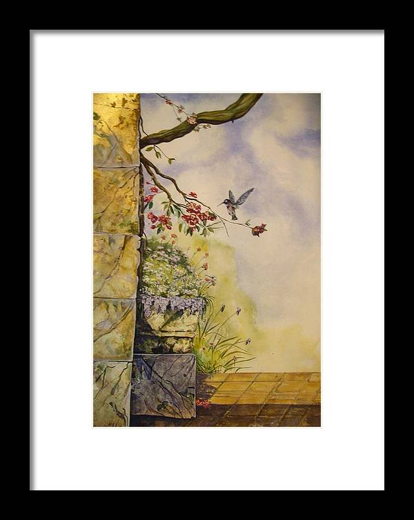 Hummingbirds Framed Print featuring the painting Looking For Nectar by David Kelly