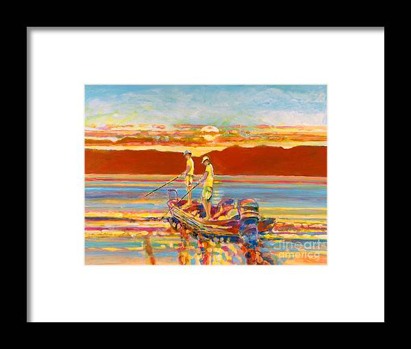 Fishing Framed Print featuring the painting Looking For The Big One by Kip Decker