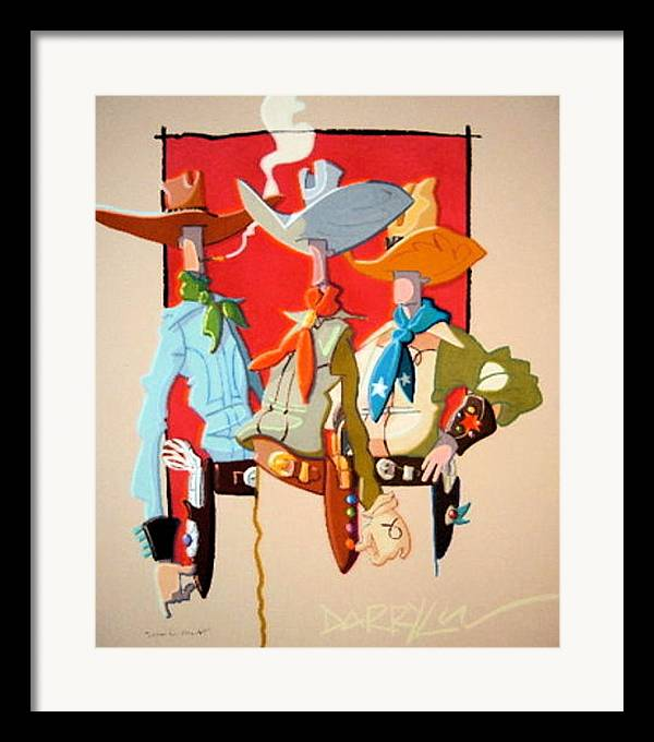 Cowboy Framed Print featuring the painting Looking For Trouble by Darryl Willison