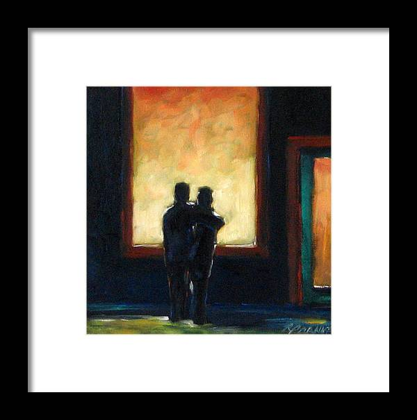Town Framed Print featuring the painting Looking In Looking Out Mini by Richard T Pranke