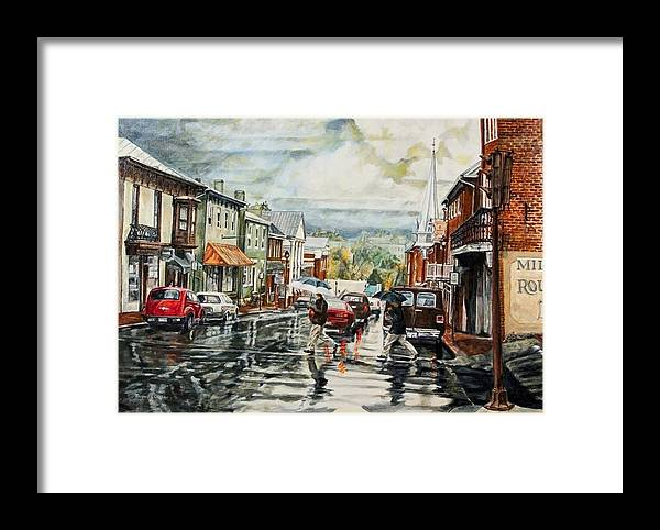 Rural Town Framed Print featuring the painting Looking North by Thomas Akers