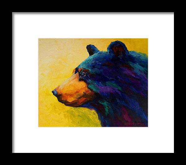 Bear Framed Print featuring the painting Looking On II - Black Bear by Marion Rose