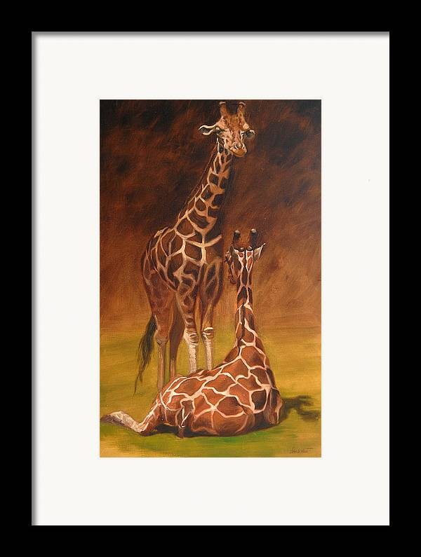 Oil Framed Print featuring the painting Looking Out For Each Other by Greg Neal