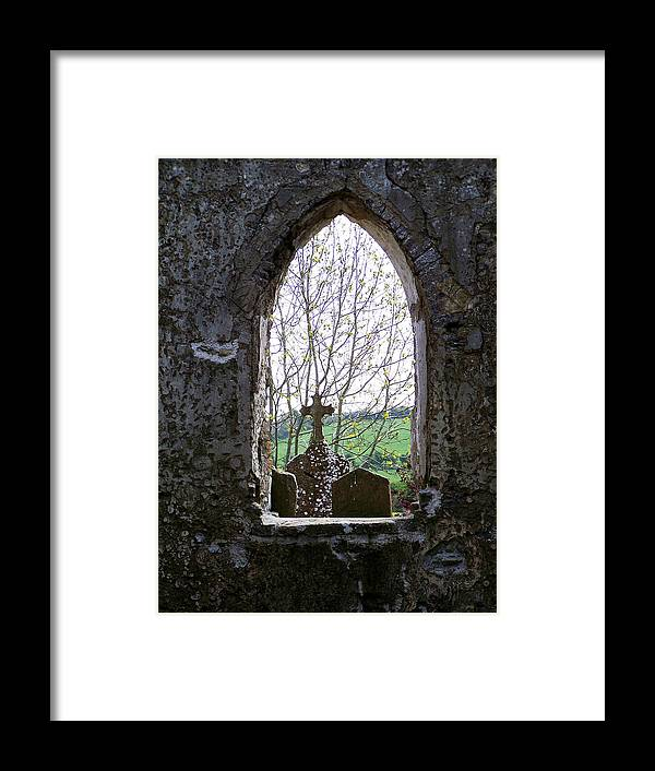 Ireland Framed Print featuring the photograph Looking Out Fuerty Church Roscommon Ireland by Teresa Mucha