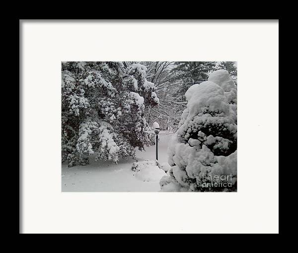 First Snow Framed Print featuring the photograph Looking Out My Front Door by Carol Wisniewski