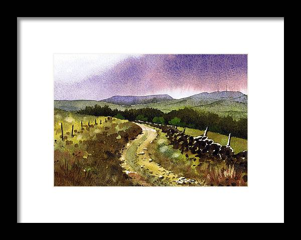 Watercolour Lanndscape Framed Print featuring the painting Looking Towards Pole Moor by Paul Dene Marlor