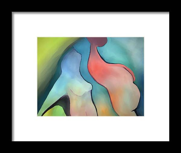 Abstact Framed Print featuring the painting Looking Up by Peter Shor