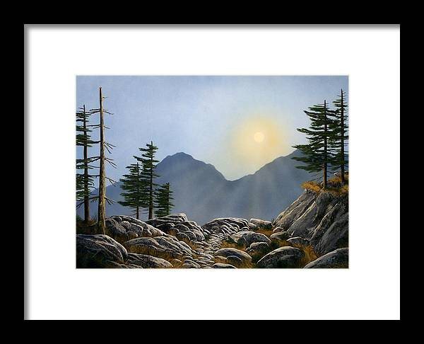 Landscape Framed Print featuring the painting Lookout Rock by Frank Wilson