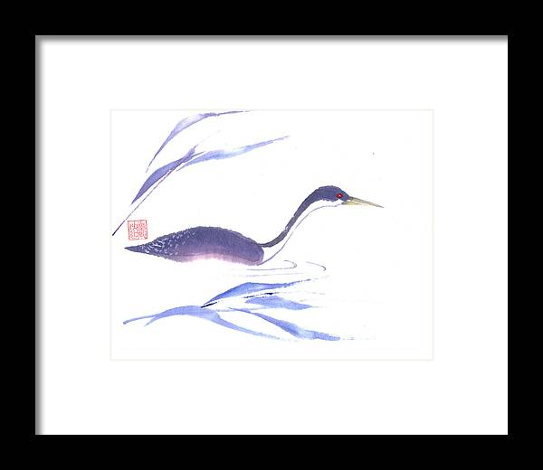 A Lone Loon Swimming Through The Tall Grass. This Is A Contemporary Chinese Ink And Color On Rice Paper Painting With Simple Zen Style Brush Strokes.  Framed Print featuring the painting Loon by Mui-Joo Wee