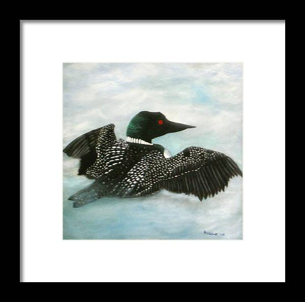 Loon Framed Print featuring the painting Loon by Rebecca Fitchett