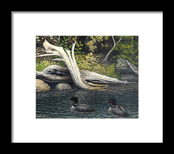 Loons Framed Print featuring the painting Loons On Saranac Lake by Michael Winston