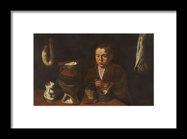 Girl Framed Print featuring the painting Lopez Caro, Francisco 1598, 1661 Kitchen Boy Ca. 1620 by Lopez Caro Francisco
