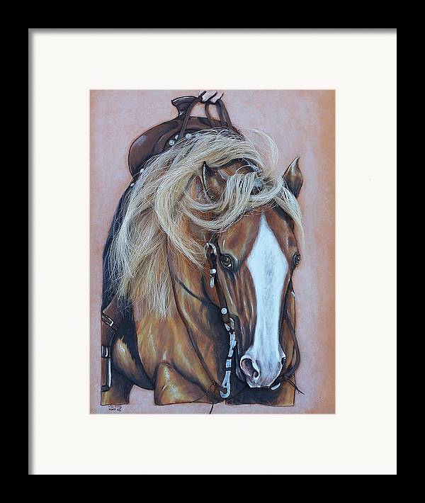 Horses Framed Print featuring the painting Lopin Along by Lilly King